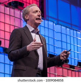 LISBON, PORTUGAL - NOVEMBER 2017 - Brad Smith, President and Chief Legal Officer of Microsoft speaks at the Web Summit in Lisbon.
