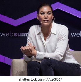 LISBON, PORTUGAL - NOVEMBER 2017: Former USA soccer goalkeeper and Olympian, Hope Solo, speaks at the Web Summit in Lisbon.