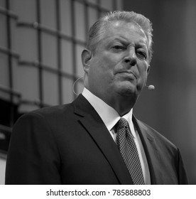 LISBON, PORTUGAL - NOVEMBER 2017: Former Vice President of the United States of America, Al Gore, speaks at the Web Summit in Lisbon about the environment and climate change.