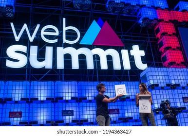 LISBON, PORTUGAL - NOVEMBER 2017: Julius Dein performs magic onstage at the Web Summit, Lisbon.