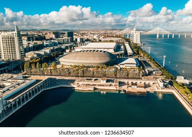 Lisbon, Portugal - November 2018: Aerial view on MEO Arena and Sao Gabriel and Sao Rafael Towers in the Park of Nations at the city promenade