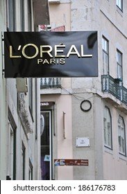 LISBON, PORTUGAL - NOVEMBER 22: The 1st worldwide boutique L'Oreal in Baixa district in Lisbon on November 22, 2013. Baixa is the most expencsive and prestigious district in capital of Portugal.