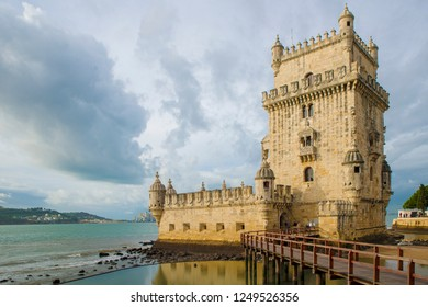 LISBON, PORTUGAL - NOVEMBER 22, 2018: Belem Tower, one of the most famous attractions of Portugal