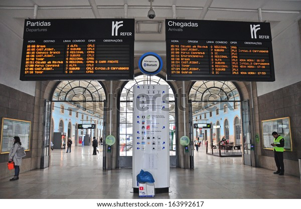 LISBON, PORTUGAL - NOVEMBER 22: Departures board on the train station of Lisbon before the strike on November 22, 2013. Lisbon has four major train stations with the different destinations.