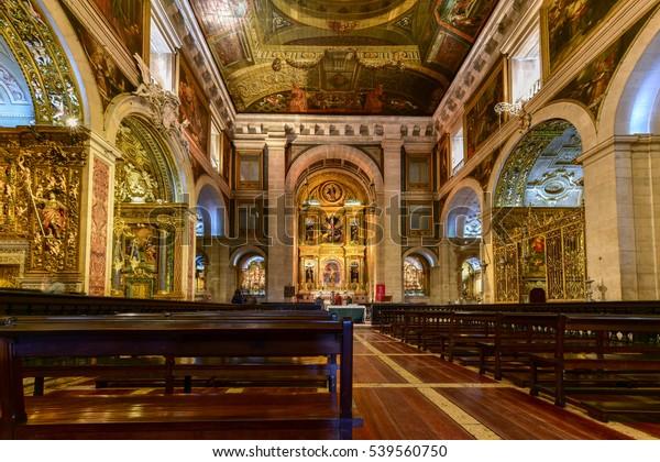 Lisbon, Portugal - November 25, 2016: Church of Saint Roch or Igreja de Sao Roque in Lisbon, Portugal.