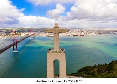 """LISBON, PORTUGAL - NOVEMBER, 28, 2018: Jesus Christ monument """"Cristo-Rei"""" in Lisbon, Portugal"""