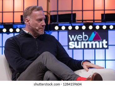 LISBON, PORTUGAL - NOVEMBER 5 2018: Marek Reichman, CCO of Aston Martin Lagonda speaks onstage at the Web Summit in Lisbon, Portugal.