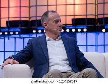 LISBON, PORTUGAL - NOVEMBER 5 2018: Executive Vice President of Volkswagen Group Martin Hofmann speaks onstage at Web Summit in Lisbon, Portugal.