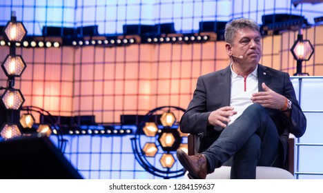 LISBON, PORTUGAL - November 5 2018: CEO & Co-Founder of BYTON, Carsten Breitfeld speaks onstage at the Web Summit in Lisbon, Portugal.