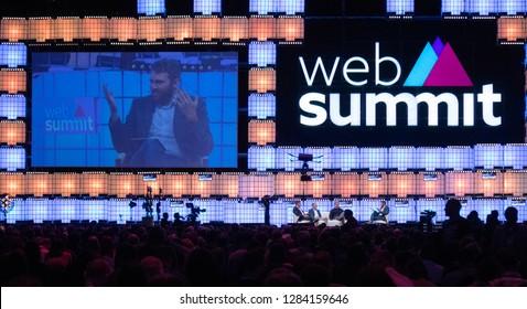 LISBON, PORTUGAL - NOVEMBER 5 2018: Carsten Breitfeld, Martin Hofmann, Marek Reichman & Charlie Wurzel speak onstage at the Web Summit in Lisbon, Portugal.