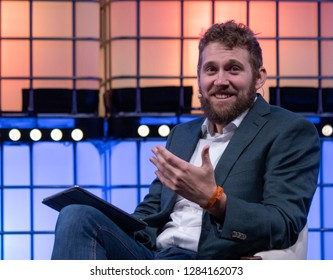 LISBON, PORTUGAL - NOVEMBER 5 2018: Charlie Warzel, writer with Buzzfeed, onstage at the Web Summit in Lisbon, Portugal.