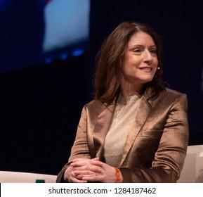 LISBON, PORTUGAL - NOVEMBER 5 2018: President of Cartoon Network, Adult Swim & Boomerang, Christina Miller, speaks onstage at Web Summit in Lisbon.