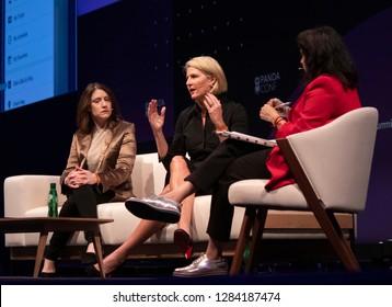 LISBON, PORTUGAL - NOVEMBER 5 2018: President of Cartoon Network & Boomerang, Christina Miller, CMO Turner Molly Battin & Head of Global Video with Thrive Global, Shalini Sharma at Web Summit, Lisbon.