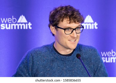 LISBON, PORTUGAL - NOVEMBER 5 2019: Paddy Cosgrave, founder of Web Summit, speaks to the media during a press conference.