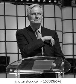 LISBON, PORTUGAL - NOVEMBER 5 2019: Michel Barnier, French politician and the European Union's Chief Negotiator with regard to the United Kingdom leaving the EU, gives a keynote speech at Web Summit.