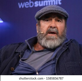 LISBON, PORTUGAL - NOVEMBER 5TH 2019: Legendary ex-footballer and actor Eric Cantona speaks onstage at Web Summit in Portugal. He's best known for his performances on the pitch with Manchester United.