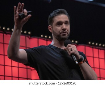 LISBON, PORTUGAL - NOVEMBER 6 2018: Alexis Ohanian, co-founder of Reddit and Initialised Capital speaks onstage at the Web Summit in Lisbon. Alexis is also the husband of tennis star Serena Williams.