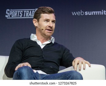LISBON, PORTUGAL - NOVEMBER 6 2018: Former Tottenham Hotspur, Chelsea & Porto manager, André Villas-Boas, speaks onstage at the Web Summit in Lisbon, Portugal.