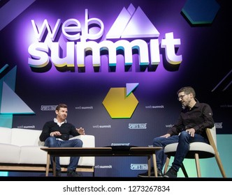 LISBON, PORTUGAL - NOVEMBER 6 2018: Former Chelsea, Tottenham Hotspur & Shanghai SIPG manager, André Villas-Boas speaks with ESPN's Andy Mitten at the Web Summit in Lisbon.