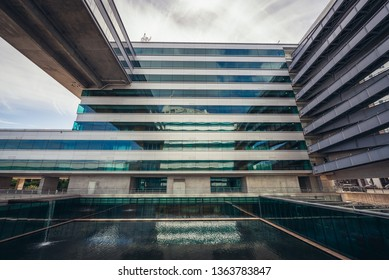 Lisbon, Portugal - November 7, 2018: Vodafone Portugal office building in Lisbon - capital city of Portugal