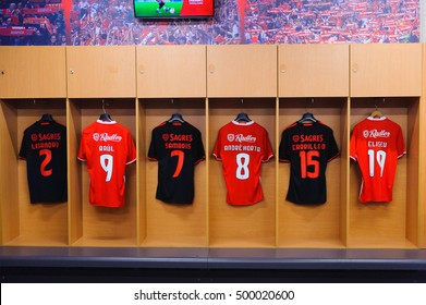 LISBON, PORTUGAL - OCT 17, 2016: Dress room of Benfica at the Estadio da Luz (Stadium of Light). It was built for the EURO 2004