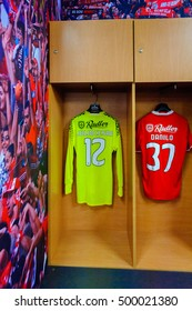 LISBON, PORTUGAL - OCT 17, 2016: Julio Cesar shirt in the Dress room of Benfica at the Estadio da Luz (Stadium of Light). It was built for the EURO 2004