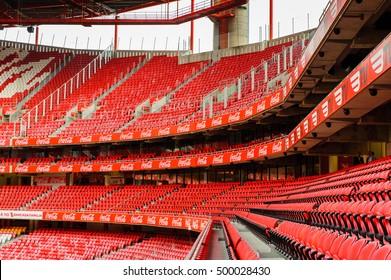 LISBON, PORTUGAL - OCT 17, 2016: Tribunes of the Estadio da Luz (Stadium of Light), home stadium for the S.L. Benfica. It was built for the EURO 2004