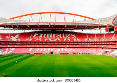 LISBON, PORTUGAL - OCT 17, 2016: Emirates sign on the tribune at the Estadio da Luz (Stadium of Light), home stadium for the S.L. Benfica. It was built for the EURO 2004