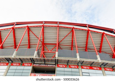 LISBON, PORTUGAL - OCT 17, 2016: Exterior of the Estadio da Luz (Stadium of Light), home stadium for the S.L. Benfica. It was built for the EURO 2004