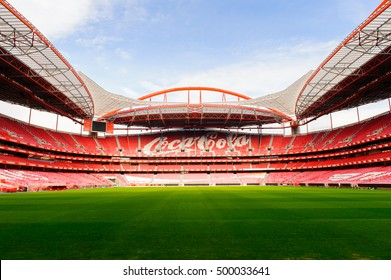 LISBON, PORTUGAL - OCT 17, 2016: Coca Cola logo at the Estadio da Luz (Stadium of Light), home stadium for the S.L. Benfica. It was built for the EURO 2004