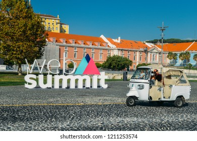 Lisbon, Portugal - Oct 24, 2018: Sign advertising the World Web Summit, the largest technology convention in the world which will be held again in Lisbon, Portugal, starting Nov 5 to 8, 2018