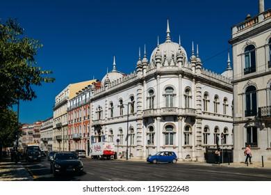 Lisbon, Portugal - Oct 3, 2018: Typical architecture in the Bohemian Bairro Alto neighbourhood of Lisbon