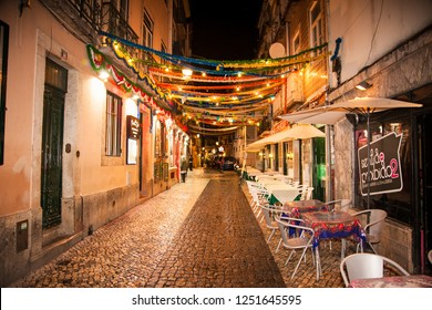 Lisbon, Portugal - Oct 30, 2018: Street cafe and restaurants in the center of Lisbon, Portugal.