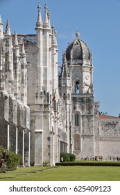 LISBON, PORTUGAL - OCTOBER 02, 2012:  Detail of the building of the Monastery of Los Jeronimos, in the neighborhood of Belem