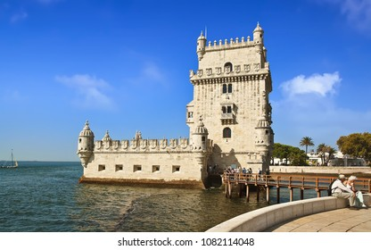 LISBON, PORTUGAL - October 02, 2014: Belem Tower, a famous masterpiece of the Portuguese Gothic style,  classified as World Heritage Site by Unesco.