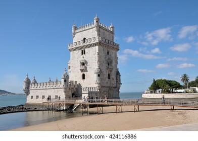 LISBON, PORTUGAL - OCTOBER 03, 2012: Belem tower and Tagus river
