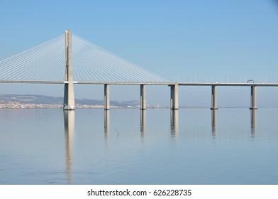 LISBON, PORTUGAL - OCTOBER 03, 2012: Detail of the bridge Vasco de Gama, on the river Tajo, in the Park of the nations