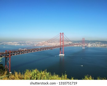 Lisbon / Portugal - October 04 2018: Ponte 25 de Abril (Ponte Salazar), Tagus river