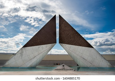 Lisbon, Portugal, October 19 2018: The Monument to the Overseas Combatants at the western edge of Belem in Lisbon Portugal, dedicated to soldiers of the Portuguese army.