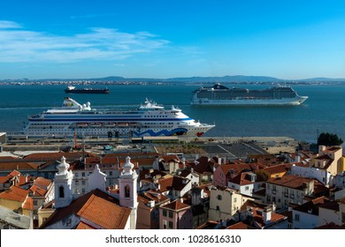 Lisbon, Portugal - October 22, 2017: View of the Alfama Neighborhood from the Santa Luzia viewpoint, with cruise ships in the Tagus River in Lisbon, Portugal