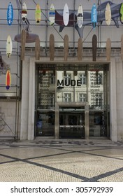 LISBON, PORTUGAL - OCTOBER 24 2014: The facade of Muse Museum of Fashion and design in Rua Augusta in Lisbon, with surfboards on the facade