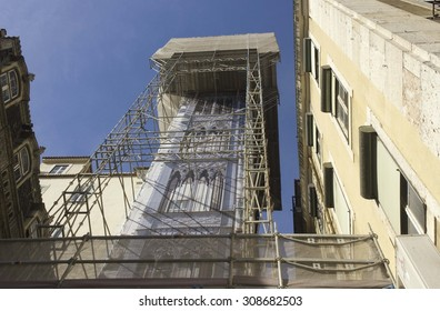 LISBON, PORTUGAL - OCTOBER 25 2014: View from the bottom of the famous Santa Justa elevator in Lisbon, during its renovation works