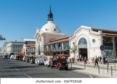 Lisbon, PORTUGAL, October 27, 2017: Street view of a Ribeira Market (Mercado Da Ribeira), most popular food spot in Lisbon, Portugal