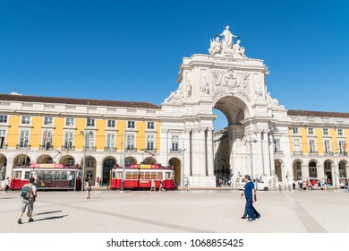 LISBON, PORTUGAL - October 27, 2017: The Praca do Comercio (Commerce Square) in  Lisbon, Portugal.