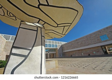 Lisbon, Portugal - October 27, 2018: The entrance to the popular Museu Coleção Berardo, main Modern and Contemporary Art Museum in city. Collection of Cubism, Dadaism, Constructivism, neo-plasticism.