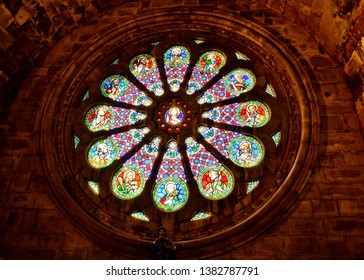 LISBON, PORTUGAL - OCTOBER 30, 2017. Inside of  Metropolitan Cathedral of St. Mary Major  ( Santa Maria Maior de Lisboa or Se de Lisboa) in Lisbon, Portugal. Stained glass.