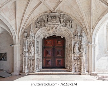 Lisbon, Portugal - October 31, 2016: West Portal of Jeronimos Monastery or Abbey that works as entrance to the church. UNESCO World Heritage Site stands as the best example of the Gothic Manueline art