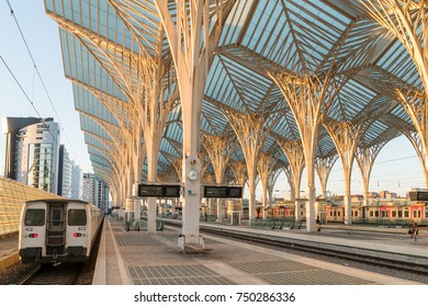 Lisbon, PORTUGAL, October 31, 2017: Morning platform on a Gare do Oriente (Lisbon Oriente Station), large Portuguese intermodal transport hubs situated in the Park of the Nations.