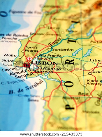 Lisbon Portugal On Atlas World Map Stock Photo (Edit Now) 215433373 ...