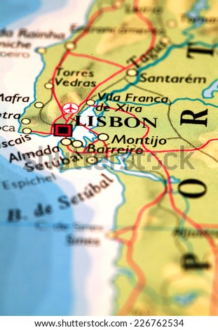 Lisbon Portugal On Atlas World Map Stock Photo (Edit Now) 226762534 ...